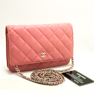 CHANEL Wallet On Chain WOC Pink Shoulder Bag Crossbody Lambskin L63