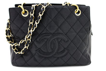CHANEL Caviar Chain Bag a Spalla Tote Shopping Tote Nero Pellicola Quilted T34-hannari-shop