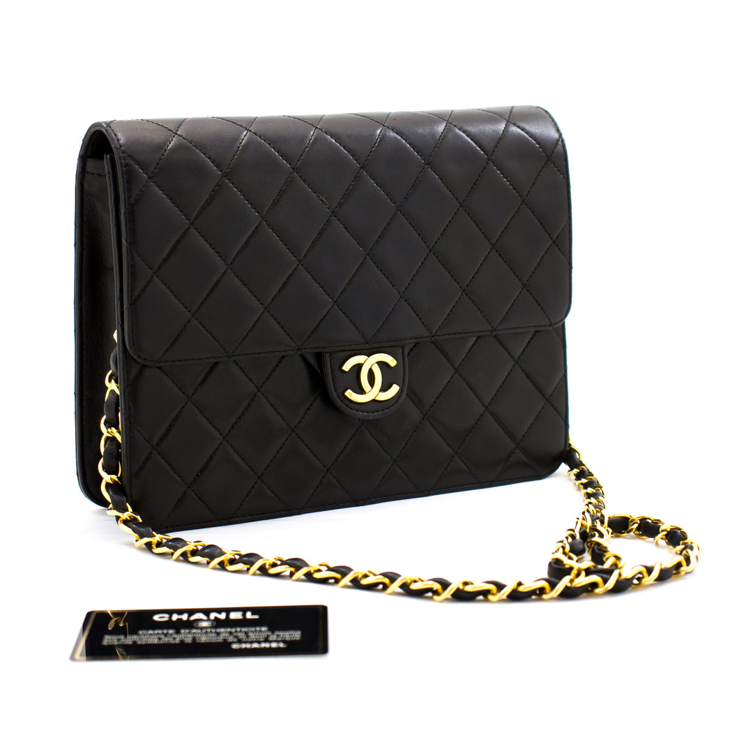 CHANEL Small Chain Shoulder Bag Clutch Black Quilted Flap Lambskin b27 hannari-shop