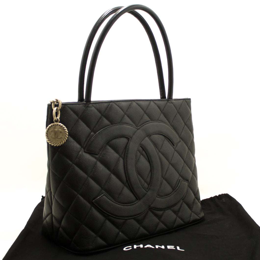 CHANEL Caviar Medallion Silver Hw Shoulder Bag Black Quilted Tote k10-Chanel Boutique-hannari-shop
