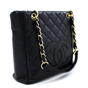 CHANEL Caviar PST ሰንሰለት ትከሻ ቦርሳ ግብይት Tote Black Quilted t35-hannari-shop