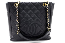 CHANEL Caviar PST Chain Shoulder Bag Shopping Tote Black Quilted t35-hannari-shop