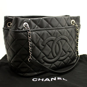 CHANEL Caviar Chain Shoulder Bag Shopping Tote Black Quilted k37 hannari-shop