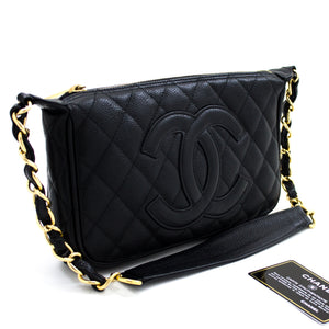 CHANEL Caviar Mini Small Chain One Shoulder Bag Black Quilted t29