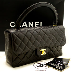 CHANEL Lambskin Handbag Bag Black Quilted Flap Leather Gold Hw k39-Chanel-hannari-shop