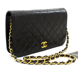 CHANEL Chain Shoulder Bag Clutch Black Quilted Flap Lambskin Purse t63-hannari-shop