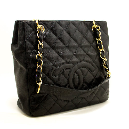 CHANEL Caviar Chain Shoulder Bag Shopping Tote Black Quilted L65-Chanel-hannari-shop