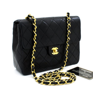 CHANEL Mini Square Small Chain Shoulder Bag Crossbody Black Quilt t64