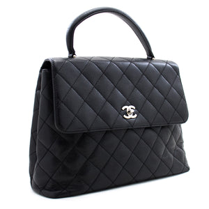 "CHANEL 11"" Jumbo Chain Shoulder Bag Crossbody Black Quilted Flap k36"