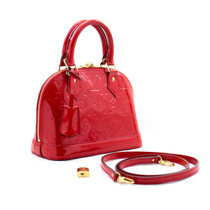 Louis Vuitton Alma BB Red Monogram Vernis Bag Handbag M91698 b44 hannari-shop