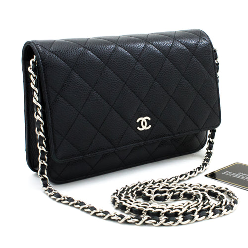 CHANEL Caviar Wallet On Chain WOC Black Shoulder Bag Crossbody t62