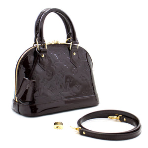 Louis Vuitton Alma BB Amaranth Monogram Vernis Bag Handbag M91678 b58 hannari-shop