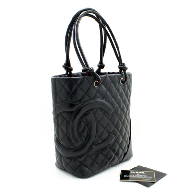 CHANEL Cambon Tote Small Shoulder Bag Black Quilted Calfskin t46
