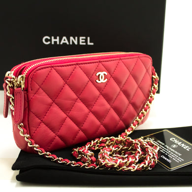 CHANEL Red Wallet Pane Chain WOC Double Zip Chain Mhezi Bhegi L56-Chanel-hannari-shop