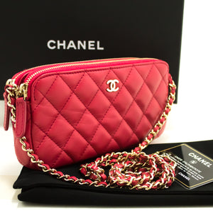 CHANEL Red Wallet On Chain WOC Double Zip Chain Shoulder Bag L56