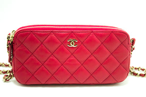 CHANEL Red Wallet On Chain WOC Double Zip Chain Shoulder Bag L56-Chanel-hannari-shop