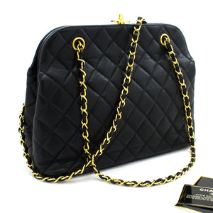 CHANEL Caviar Chain Shoulder Bag Black Quilted Leather Gold Hw t49