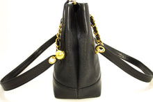 CHANEL Caviar Large Chain Shoulder Bag Black Leather Gold Zipper L69-Chanel-hannari-shop