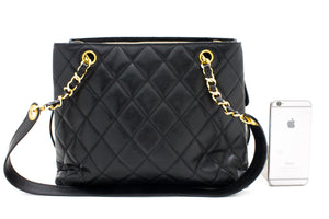 CHANEL Caviar Quilted Chain Shoulder Bag Black Leather Gold Hw s76-hannari-shop