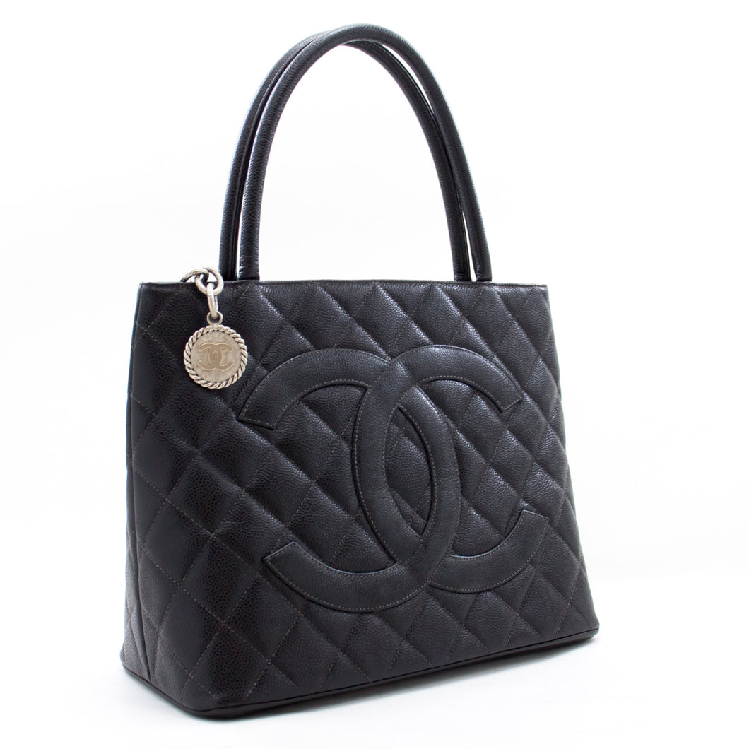 CHANEL Silver Medallion Caviar Shoulder Bag Shopping Tote Black b48 hannari-shop