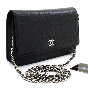 CHANEL Black Camellia Embossed Wallet On Chain WOC Shoulder Bag t66