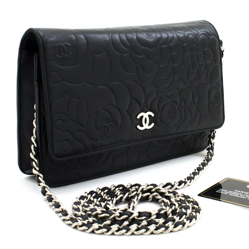 CHANEL Black Camellia Embossed Wallet On Chain WOC Shoulder Bag t66-hannari-shop