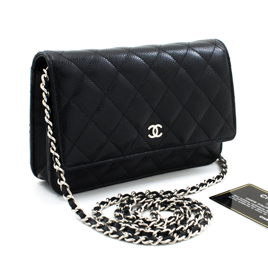 CHANEL Caviar Wallet On Chain WOC Black Shoulder Bag Crossbody t65-hannari-shop