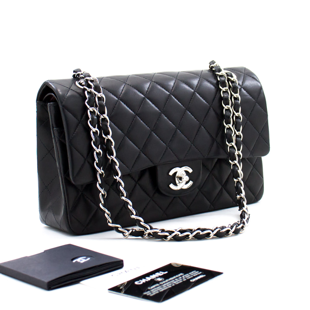 CHANEL 2.55 Double Flap Silver Chain Shoulder Bag Black Lambskin b66 hannari-shop