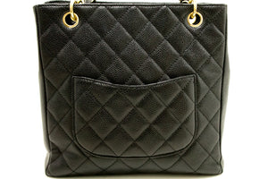 CHANEL Caviar Chain Shoulder Bag Shopping Tote Black Quilted L68-Chanel-hannari-shop