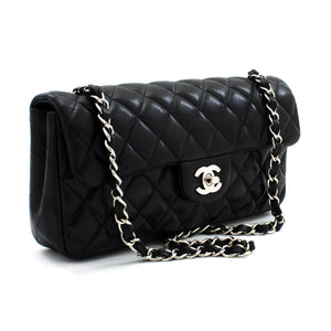 CHANEL Silver Chain Shoulder Bag Black Quilted Single Flap Lamb t48