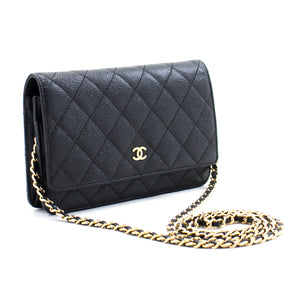 CHANEL Caviar Wallet On Chain WOC Black Shoulder Bag Crossbody b70 hannari-shop