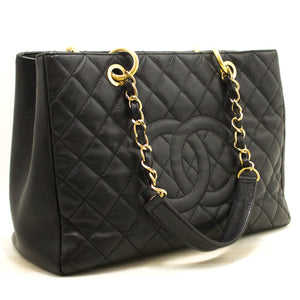 "CHANEL Caviar GST 13"" Grand Shopping Tote Chain Shoulder Bag Black k57"