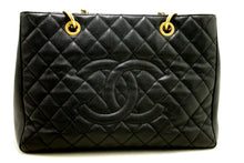 "CHANEL Caviar GST 13"" Grand Shopping Tote Chain Shoulder Bag Black k57-Chanel Boutique-hannari-shop"