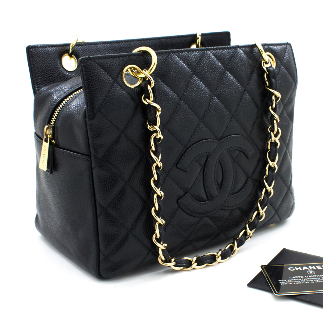 CHANEL Caviar Chain Shoulder Bag Shopping Tote Black Quilted s79-hannari-shop