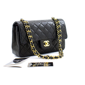 "CHANEL 2.55 Double Flap 9"" Chain Shoulder Bag Black Lambskin b65 hannari-shop"