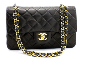 "CHANEL 2.55 Double Flap 9 ""Chain Shoulder Bag Black Lambskin b65 hannari-shop"
