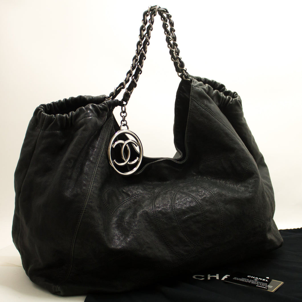 CHANEL Coco Cabas GM Caviar Large Chain Shoulder Bag Black Leather j52-Chanel-hannari-shop
