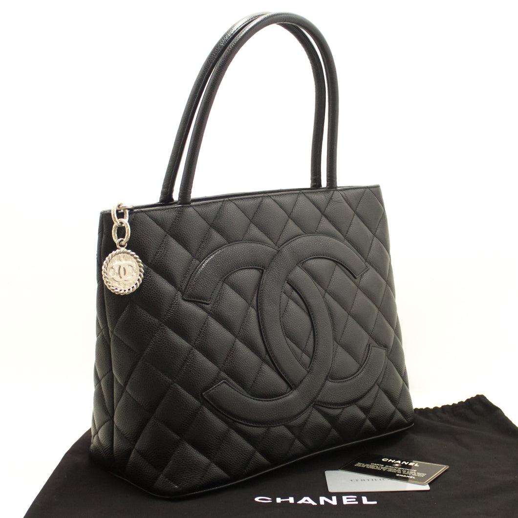 CHANEL Caviar Medallion Silver Hw Shoulder Bag Black Leather Tote k38-Chanel-hannari-shop