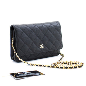 CHANEL Caviar Wallet On Chain WOC Black Shoulder Bag Crossbody b39 hannari-shop