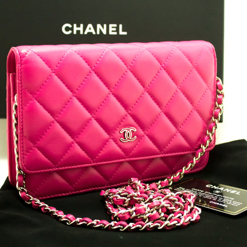 CHANEL Wallet On Chain WOC Hot Pink Shoulder Bag Crossbody Clutch L70