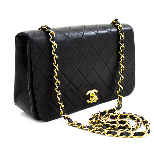 CHANEL Chain Shoulder Bag Crossbody Black Quilted Flap Lambskin t75-hannari-shop