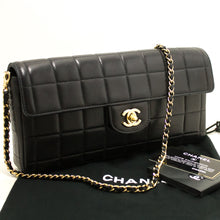 CHANEL Chocolate Bar Gold Chain Shoulder Bag Clutch Black Quilted L72-Chanel-hannari-shop