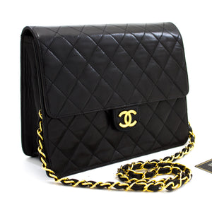CHANEL Small Chain Shoulder Bag Clutch Black Quilted Flap Lambskin t68-hannari-shop