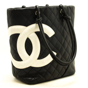 CHANEL Cambon Tote Shoulder Bag Black Quilted Calfskin Leather CC k48-Chanel Boutique-hannari-shop