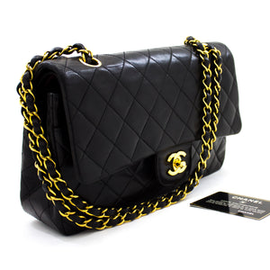 "CHANEL 2.55 Double Flap 10"" Chain Shoulder Bag Black Lambskin t69"