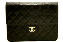 CHANEL Chain Shoulder Bag Clutch Black Quilted Flap Lambskin L71