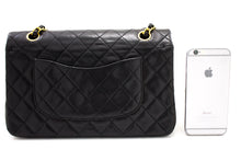 "CHANEL 2.55 Double Flap 10"" Chain Shoulder Bag Black Lambskin t69-hannari-shop"