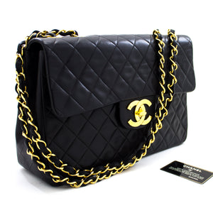 "CHANEL Jumbo 13"" Maxi 2.55 Flap Chain Shoulder Bag Black Lambskin t72"