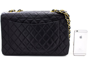 "CHANEL Jumbo 13 ""Maxi 2.55 Flap Chain Shoulder Bag Black Lambskin t72-hannari-shop"