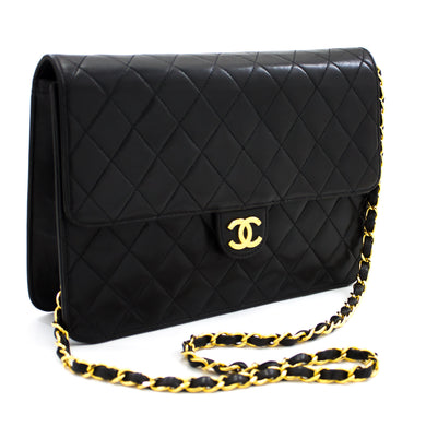 CHANEL Chain Shoulder Bag Clutch Black Quilted Flap Lambskin Purse t73-hannari-shop